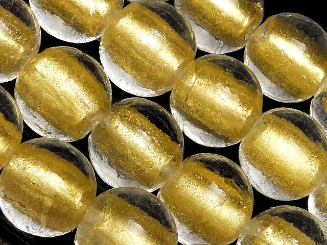 天然石ビーズ【連販売】とんぼ玉 丸玉 12mm[金箔][ショート連]【1連 1,400円】とパワーストーン