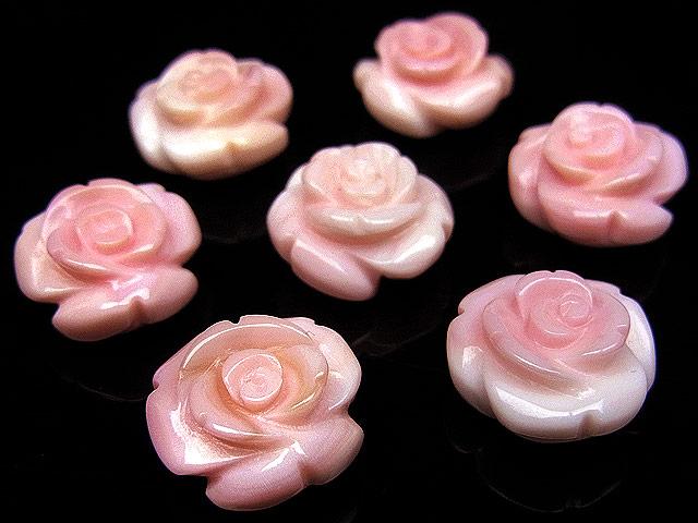 天然石【粒販売】クイーンコンクシェル 薔薇彫刻 12mm[片穴]【2粒販売 700円】ビーズとパワーストーン