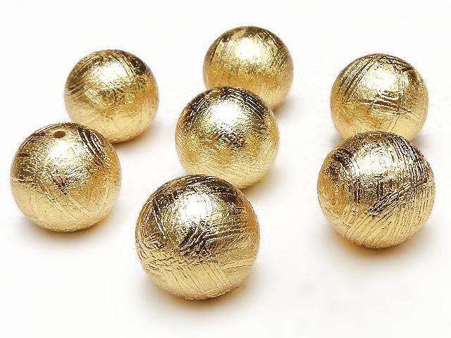 天然石【粒販売】ムオニナルスタ隕石 メテオライト ゴールドカラー 丸玉 9mm【1粒販売 3,760円】ビーズとパワーストーン