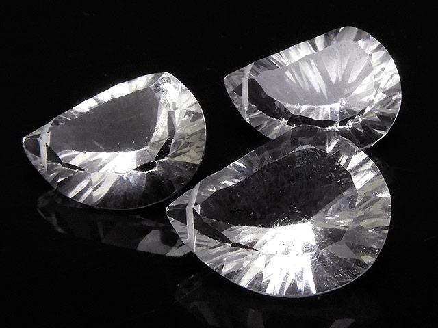 天然石【粒販売】天然水晶 クリスタルクォーツ リーフカット 17〜18mm[コンケーブカット]【1粒販売 1,300円】ビーズとパワーストーン