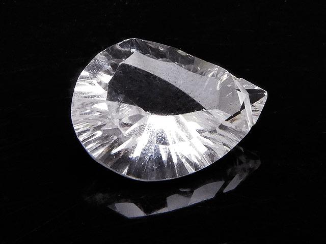 天然石天然水晶 クリスタルクォーツ リーフカット 18mm[コンケーブカット]【1点もの 1,150円】ビーズとパワーストーン