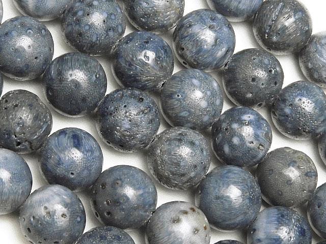 天然石【連販売】ブルーコーラル(青珊瑚) 丸玉 8mm【1連 600円】ビーズとパワーストーン