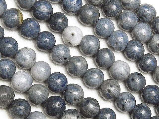 天然石【連販売】ブルーコーラル(青珊瑚) 丸玉 4mm【1連 400円】ビーズとパワーストーン