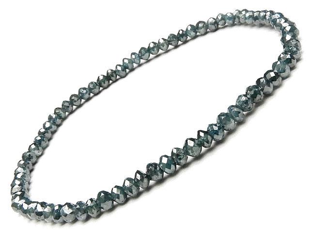 天然石【連販売】ブルーダイヤモンド ボタンカットブレス【1点もの 98,000円】ビーズとパワーストーン
