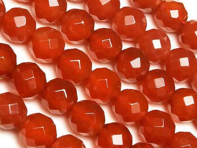 天然石【連販売】カーネリアン 64面カット 丸玉 8mm[2mm穴]【1連 800円】ビーズとパワーストーン