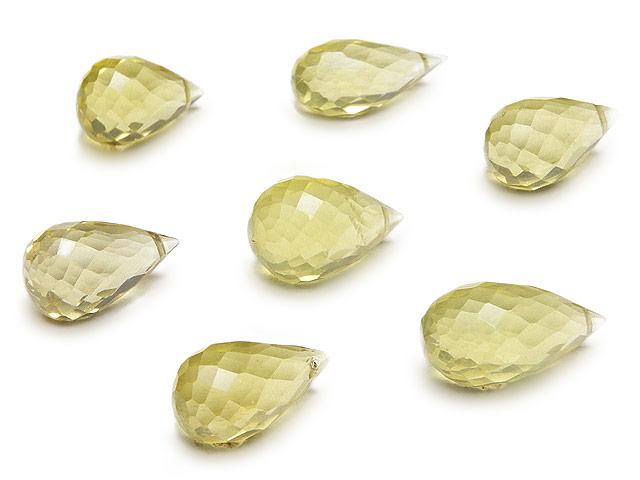 天然石の1点もの粒売りビーズ、パワーストーンも【粒販売】レモンクォーツ ドロップカット 9〜11mm【3粒販売 410円】