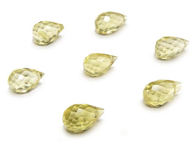 天然石【粒販売】レモンクォーツ ドロップカット 6〜9mm【8粒販売 640円】ビーズとパワーストーン
