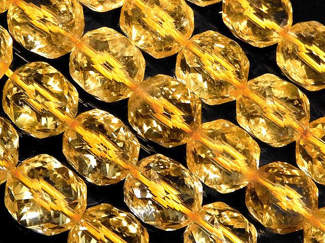 天然石【連販売】シトリン スターカット 丸玉 10mm[プレミアムカット]【半連 4,900円〜】ビーズとパワーストーン