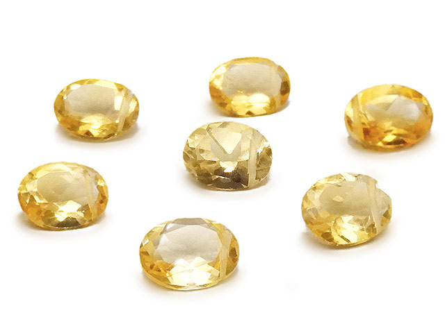 天然石【粒販売】シトリン オーバルファセットカット 8×6mm【3粒販売 780円】ビーズとパワーストーン