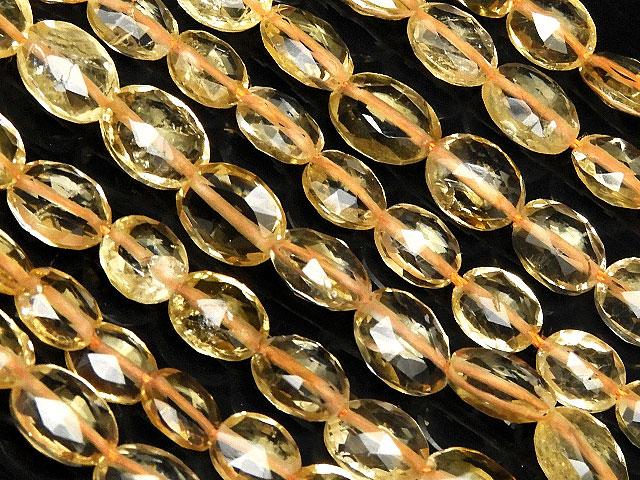 天然石【連販売】シトリン オーバルカット 4〜6mm No.2【1連 1,800円】ビーズとパワーストーン
