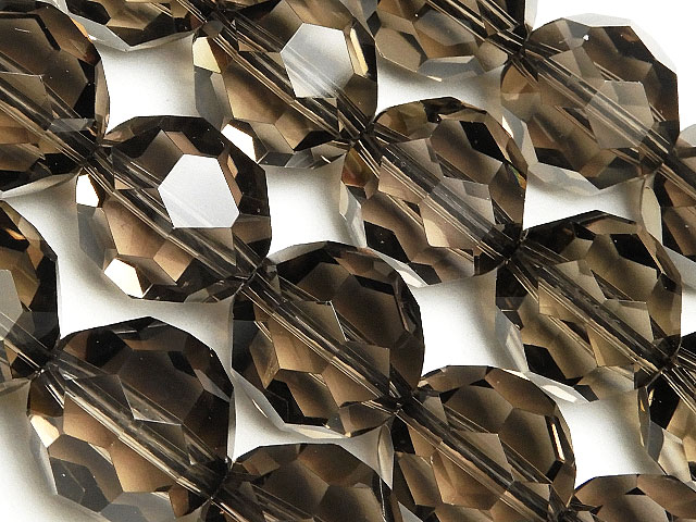 天然石【連販売】スモーキークォーツ バッキーボールカット 14mm[プレミアムカット]【半連 3,300円〜】ビーズとパワーストーン