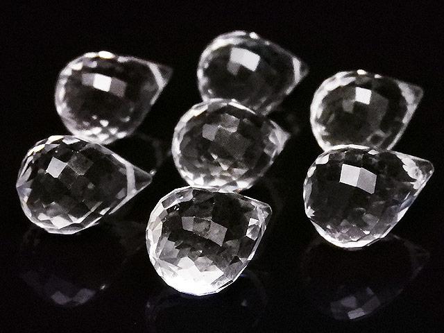 天然石【粒販売】天然水晶 クリスタルクォーツ ドロップカット 14×9mm[プレミアムカット]【2粒販売 500円】ビーズとパワーストーン