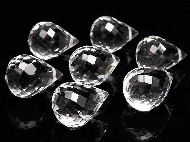 天然石【粒販売】天然水晶 クリスタルクォーツ ドロップカット 13×9mm[プレミアムカット]【2粒販売 460円】ビーズとパワーストーン