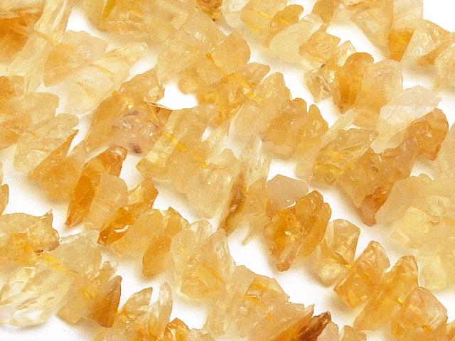 天然石【連販売】シトリン ラフロック 3〜18mm【1連 1,200円】ビーズとパワーストーン