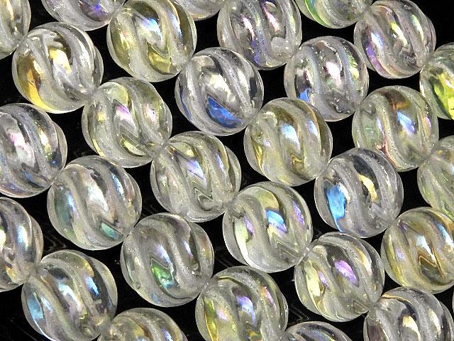 天然石【連販売】レインボーオーラ S字彫刻 丸玉 8mm【1連 1,600円】ビーズとパワーストーン
