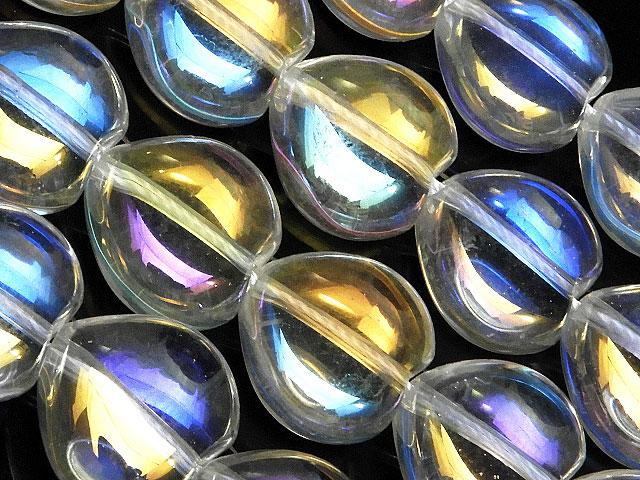 天然石【連販売】レインボーオーラ ハート 13mm【半連 1,380円〜】ビーズとパワーストーン