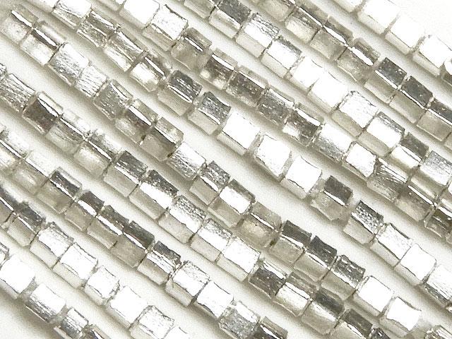 天然石【連販売】カレンシルバー キューブ 1mm No.11[ロング連]【1連 3,400円】ビーズとパワーストーン