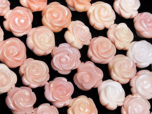天然石【連販売】クイーンコンクシェル ローズ(薔薇) 8mm【半連 3,740円〜】ビーズとパワーストーン