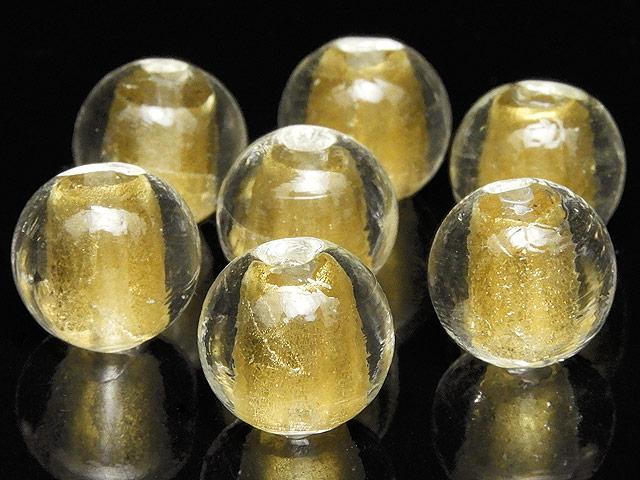 天然石【粒販売】とんぼ玉 丸玉 12mm[金箔]【5粒販売 500円】ビーズとパワーストーン