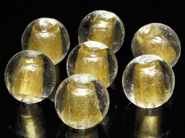 天然石【粒販売】とんぼ玉 丸玉 11mm[金箔]【5粒販売 460円】ビーズとパワーストーン