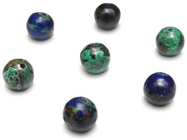 天然石【粒販売】アズロマラカイト 丸玉 6mm【7粒販売 450円】ビーズとパワーストーン