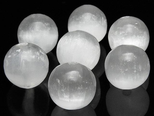 天然石【粒販売】セレナイト 丸玉 12mm【2粒販売 400円】ビーズとパワーストーン