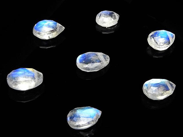 天然石【粒販売】レインボームーンストーン ペアシェイプカット 5〜7mm【3粒販売 630円】ビーズとパワーストーン