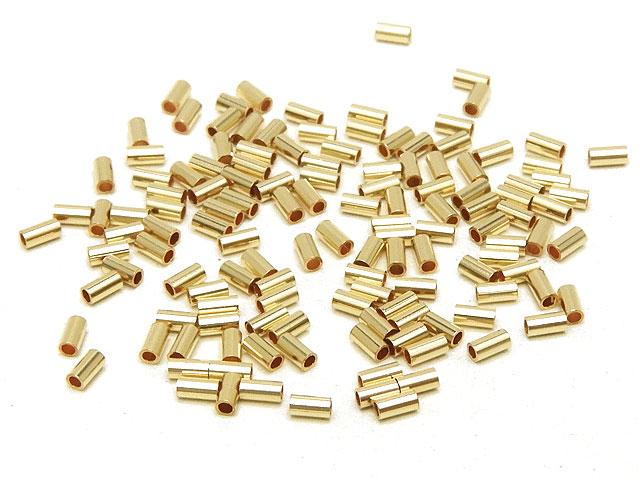 ビーズ天然石14KGF チューブ 1×2.3mm【110コ販売 600円】とパワーストーン