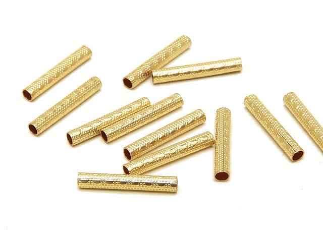 ビーズ天然石14KGF デザインチューブ 1.5×10mm【4コ販売 370円】とパワーストーン