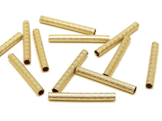 天然石14KGF デザインチューブ 1.5×13mm【4コ販売 400円】ビーズとパワーストーン