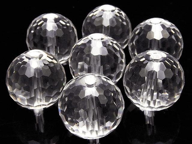 天然石【粒販売】天然水晶 クリスタルクォーツ 128面カット 丸玉 14mm[プレミアムカット]【3粒販売 690円】ビーズとパワーストーン