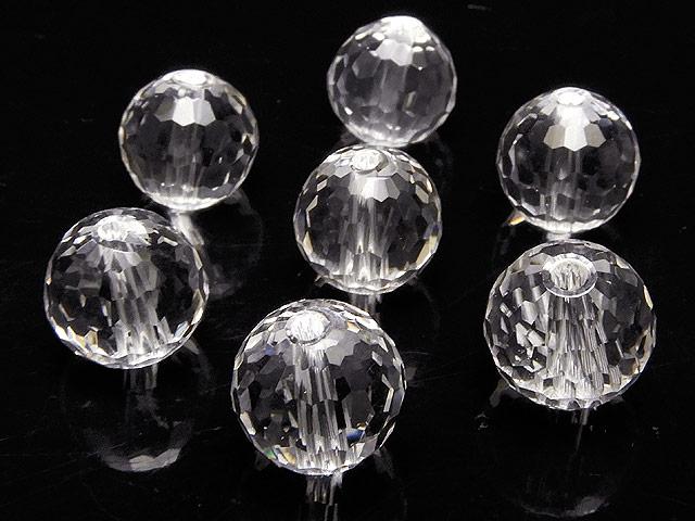 天然石【粒販売】天然水晶 クリスタルクォーツ 128面カット 丸玉 10mm[プレミアムカット]【4粒販売 560円】ビーズとパワーストーン