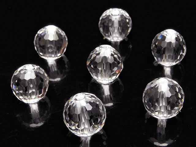 天然石【粒販売】天然水晶 クリスタルクォーツ 128面カット 丸玉 8mm[プレミアムカット]【5粒販売 480円】ビーズとパワーストーン