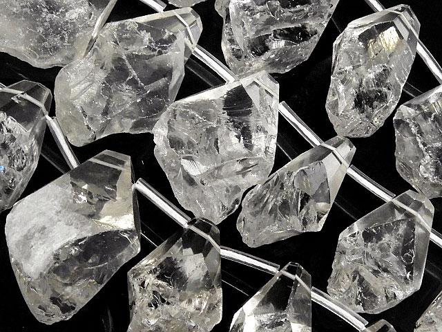 天然石【連販売】天然水晶 クリスタルクォーツ ナゲットカット[クレオ穴]【1連 3,400円】ビーズとパワーストーン