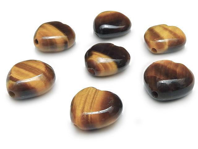天然石【粒販売】イエロータイガーアイ ハート 10×5mm【10粒販売 470円】ビーズとパワーストーン