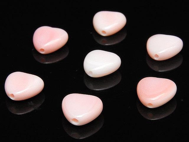 天然石【粒販売】クイーンコンクシェル ハート 8mm【5粒販売 450円】ビーズとパワーストーン