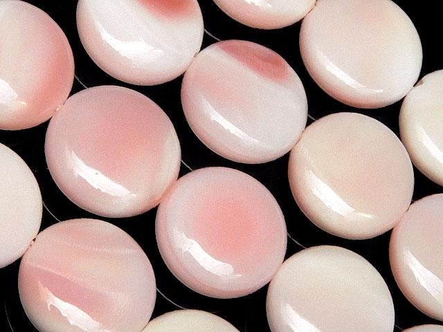 天然石【連販売】クイーンコンクシェル コイン 12mm【1連 3,200円】ビーズとパワーストーン