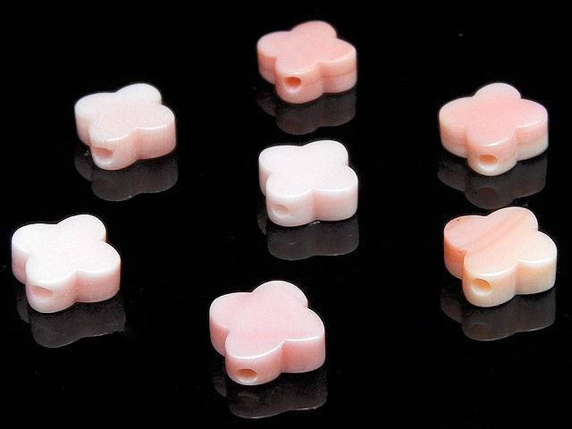 天然石【粒販売】クイーンコンクシェル フラットクローバー 8mm【5粒販売 410円】ビーズとパワーストーン