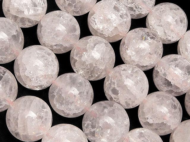 天然石【連販売】アフリカ産 クラックローズクォーツ 丸玉 10mm【1連 800円】ビーズとパワーストーン