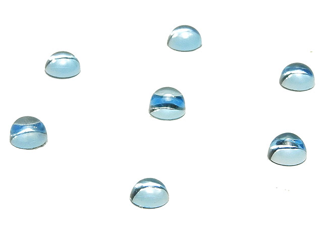 天然石ビーズ【粒販売】スカイブルートパーズ カボション 4mm【5コ販売 700円】とパワーストーン