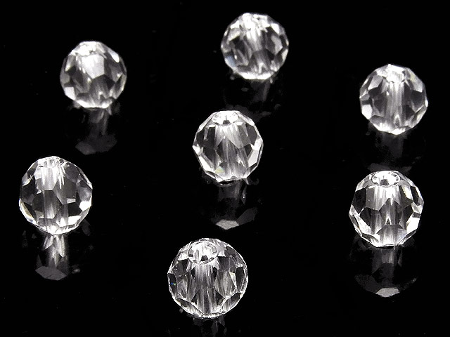 天然石【粒販売】天然水晶 クリスタルクォーツ バッキーボールカット 丸玉 6mm[プレミアムカット]【6粒販売 480円】ビーズとパワーストーン