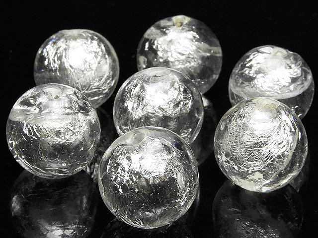 天然石【粒販売】とんぼ玉 丸玉 12mm[銀箔]【8粒販売 480円】ビーズとパワーストーン