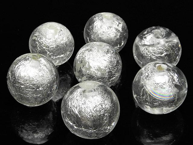 天然石【粒販売】とんぼ玉 丸玉 11mm[銀箔]【8粒販売 430円】ビーズとパワーストーン