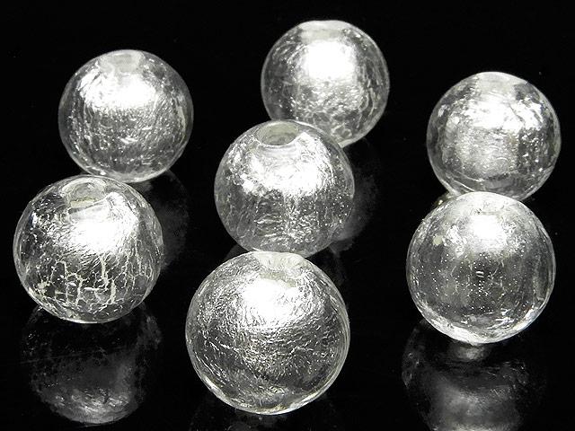 天然石【粒販売】とんぼ玉 丸玉 10mm[銀箔]【8粒販売 400円】ビーズとパワーストーン