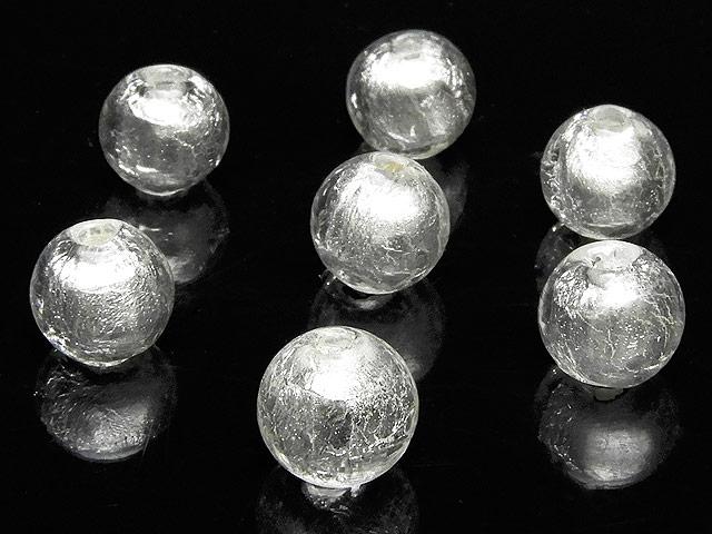 天然石【粒販売】とんぼ玉 丸玉 7mm[銀箔]【8粒販売 360円】ビーズとパワーストーン