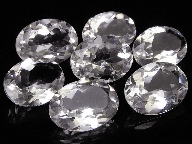 天然石【粒販売】天然水晶 クリスタルクォーツ オーバルファセットカット ルース 18×13mm[穴なし]【2コ販売 900円】ビーズとパワーストーン