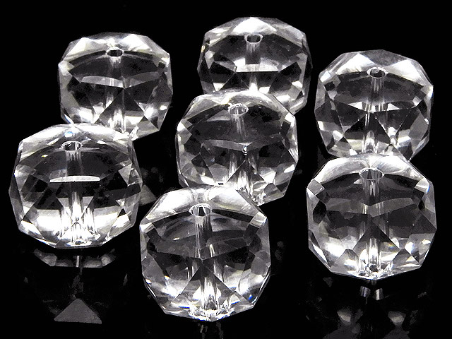 天然石【粒販売】天然水晶 クリスタルクォーツ ボタンカット 12×8mm[プレミアムカット]【4粒販売 680円】ビーズとパワーストーン