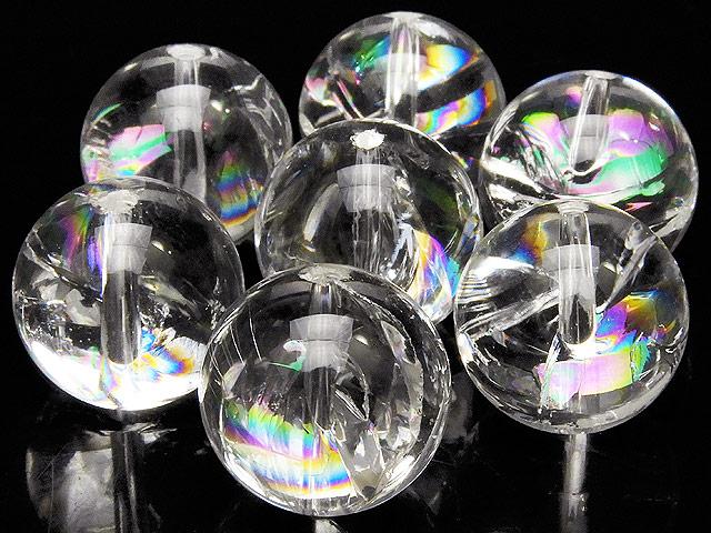 天然石【粒販売】レインボークリスタル 丸玉 14mm【3粒販売 780円】ビーズとパワーストーン