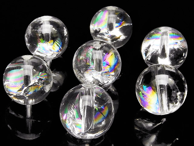 天然石【粒販売】レインボークリスタル 丸玉 10mm【5粒販売 700円】ビーズとパワーストーン