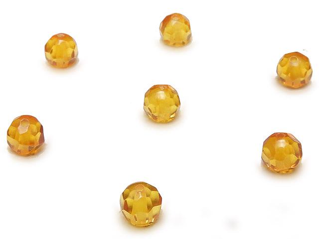 天然石【粒販売】バルティックアンバー(琥珀) 32面カット 丸玉 4mm【5粒販売 460円】ビーズとパワーストーン